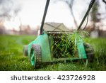 Grass Cutting With Lawn Mower.