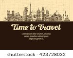 travel  journey. vector hand... | Shutterstock .eps vector #423728032