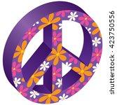 flowered peace symbol | Shutterstock .eps vector #423750556