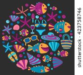 vector flat hand drawn icons... | Shutterstock .eps vector #423758746