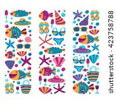 vector flat hand drawn icons... | Shutterstock .eps vector #423758788