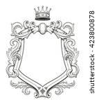 blank baroque shield with... | Shutterstock .eps vector #423800878