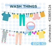 vector illustration wash things.... | Shutterstock .eps vector #423805126