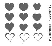 set of different heart shapes.