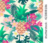 pineapple  palm leaves  pink... | Shutterstock .eps vector #423808186