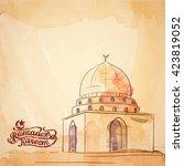 ramadan greeting banner... | Shutterstock .eps vector #423819052