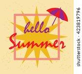 hello summer illustration... | Shutterstock .eps vector #423819796