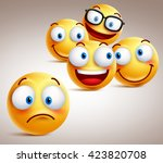 lonely smiley face vector... | Shutterstock .eps vector #423820708