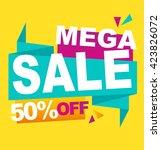 mega sale color banner. vector... | Shutterstock .eps vector #423826072