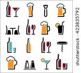 drink alcohol beverage icons set | Shutterstock .eps vector #423835792