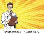 vector portrait of a confident... | Shutterstock .eps vector #423854872