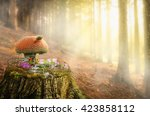 Fairy House On A Tree Stump In...