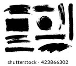 vector set of grunge artistic... | Shutterstock .eps vector #423866302