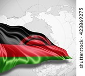 malawi flag of silk with... | Shutterstock . vector #423869275