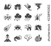 disaster icons set. included... | Shutterstock .eps vector #423890302