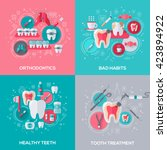 dentistry banners set with flat ... | Shutterstock .eps vector #423894922