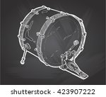 bass drums sketch drawing... | Shutterstock .eps vector #423907222