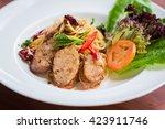 stir fried spaghetti with thai... | Shutterstock . vector #423911746