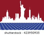 silhouette of new york in the... | Shutterstock . vector #423950935
