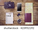 travelling concept with camera  ... | Shutterstock . vector #423952192