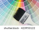 paint colour palette in close... | Shutterstock . vector #423953122