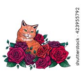 vector color cat roses... | Shutterstock .eps vector #423955792
