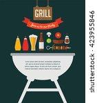 bbq party invitation. designed... | Shutterstock .eps vector #423955846