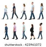 group of people walking in line ... | Shutterstock . vector #423961072