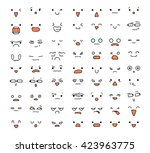 big set of 63 emotions isolated ... | Shutterstock . vector #423963775