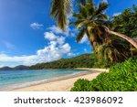 beautiful beach anse intendance ... | Shutterstock . vector #423986092
