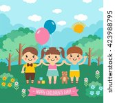happy children's day. awesome... | Shutterstock .eps vector #423988795