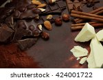 chocolate background  nut... | Shutterstock . vector #424001722