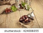 dried date palm fruits or kurma ...   Shutterstock . vector #424008355