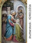 Small photo of ZAGREB, CROATIA - SEPTEMBER 14: Visitation of the Virgin Mary, altarpiece in the Basilica of the Sacred Heart of Jesus in Zagreb, Croatia on September 14, 2015