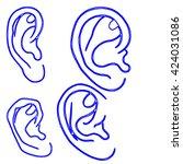 human ear  | Shutterstock . vector #424031086