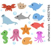 baby sea animals  | Shutterstock .eps vector #424037986