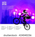 vector of bmx cyclist | Shutterstock .eps vector #424040236