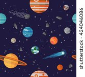 cool galaxy planets and stars... | Shutterstock .eps vector #424046086