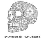 skull coloring book for adults... | Shutterstock .eps vector #424058056