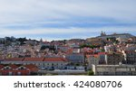 panoramic view of lisbon old... | Shutterstock . vector #424080706