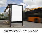 bus stop with blank billboard ... | Shutterstock . vector #424083532
