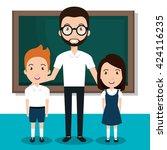 teacher classroom design  | Shutterstock .eps vector #424116235
