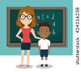teacher classroom design  | Shutterstock .eps vector #424116238