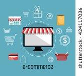 electronic commerce design  | Shutterstock .eps vector #424117036