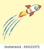 rocket flying doodle crayon... | Shutterstock .eps vector #424121572