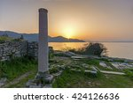 ancient columns and sunset on... | Shutterstock . vector #424126636