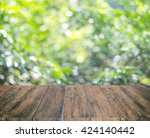 close up rustic wood table with ... | Shutterstock . vector #424140442