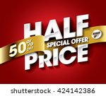 half price sale concept with... | Shutterstock .eps vector #424142386