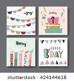 set of birthday greeting cards | Shutterstock .eps vector #424144618
