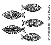 fish. paisley. isolated vector... | Shutterstock .eps vector #424150192
